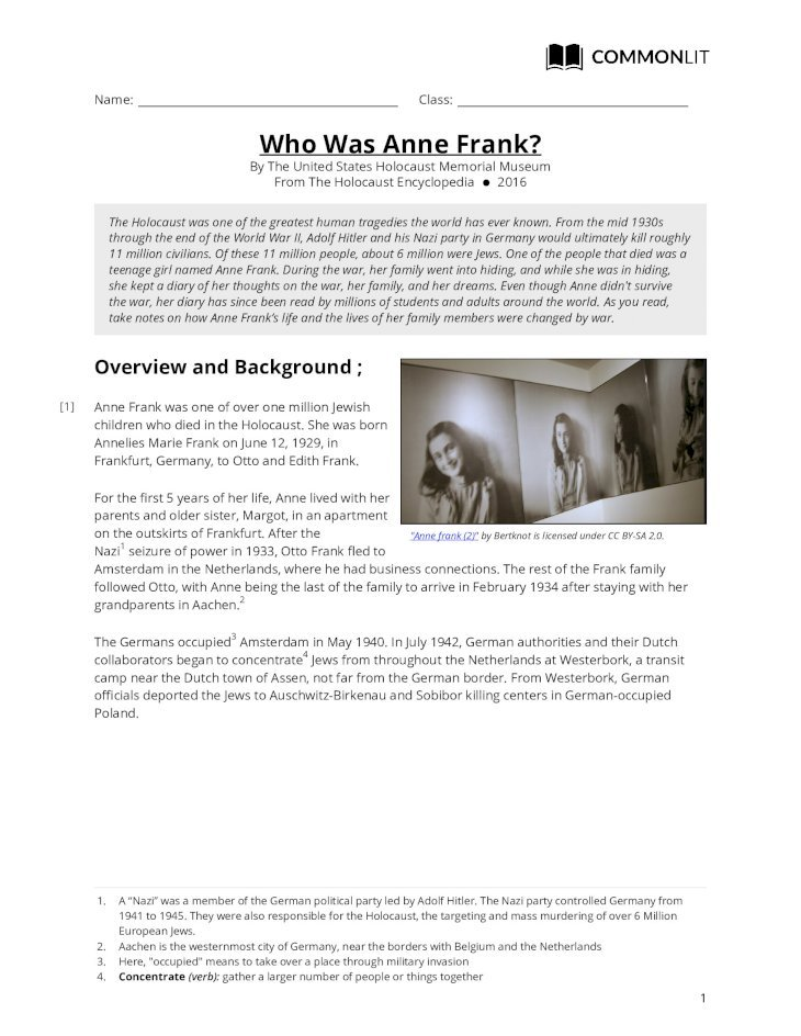 CommonLit | Who Was Anne Frank? ... seen. Anne Frank was ...